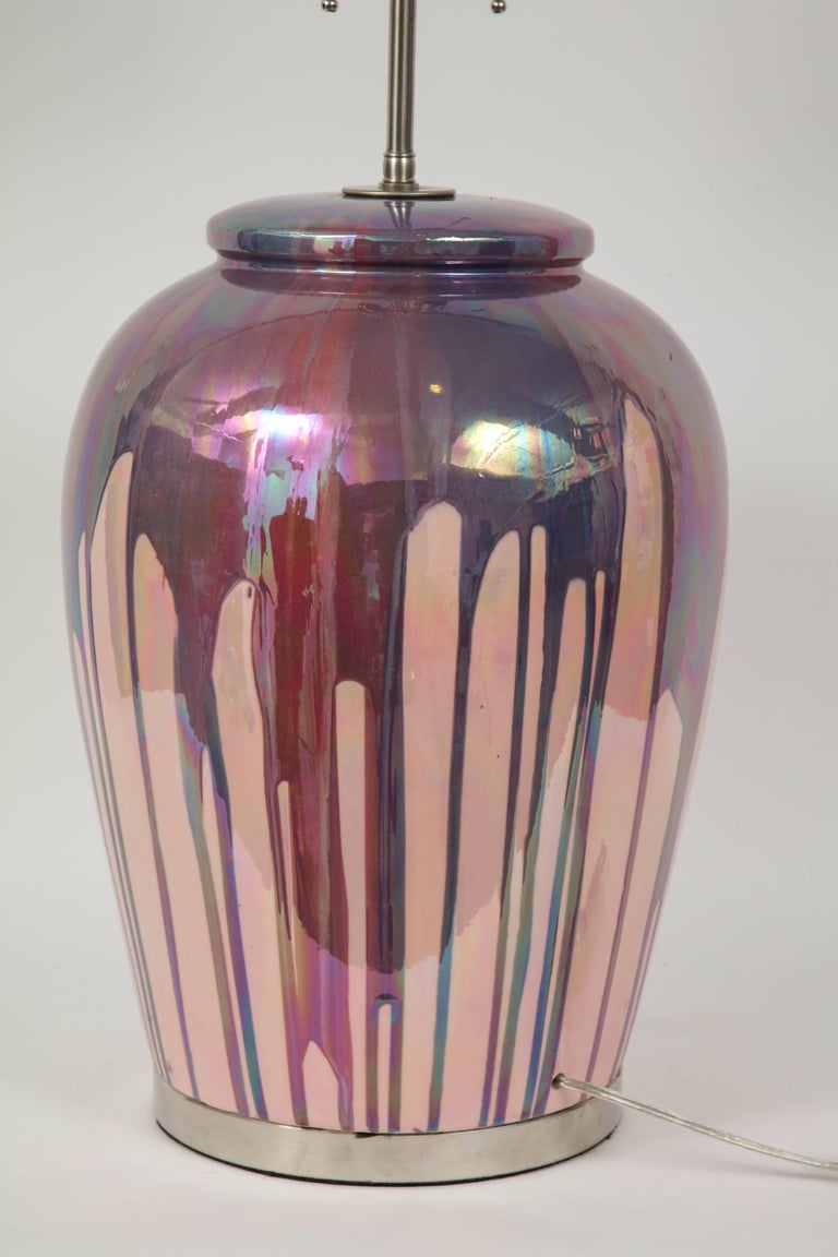 Italian Iridescent Drip Glaze Lamps In Excellent Condition For Sale In New York, NY