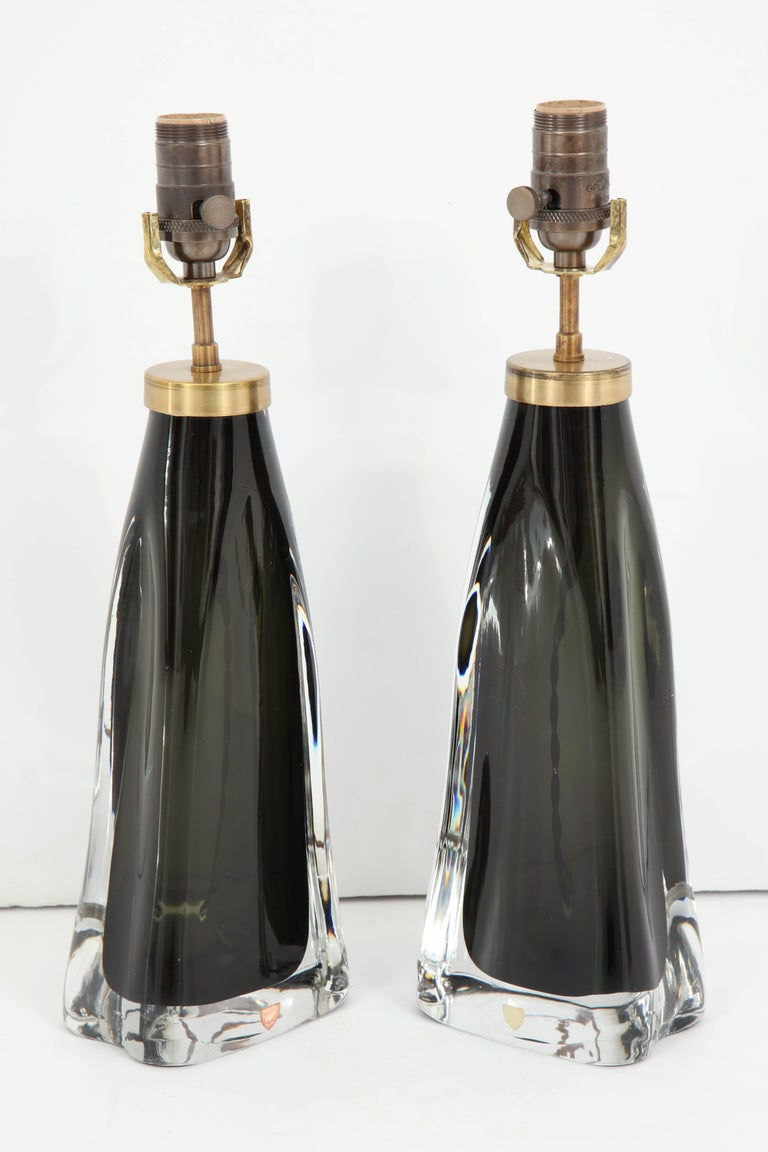 Pair of Midnight Blue Orrefors Crystal Lamps For Sale 1