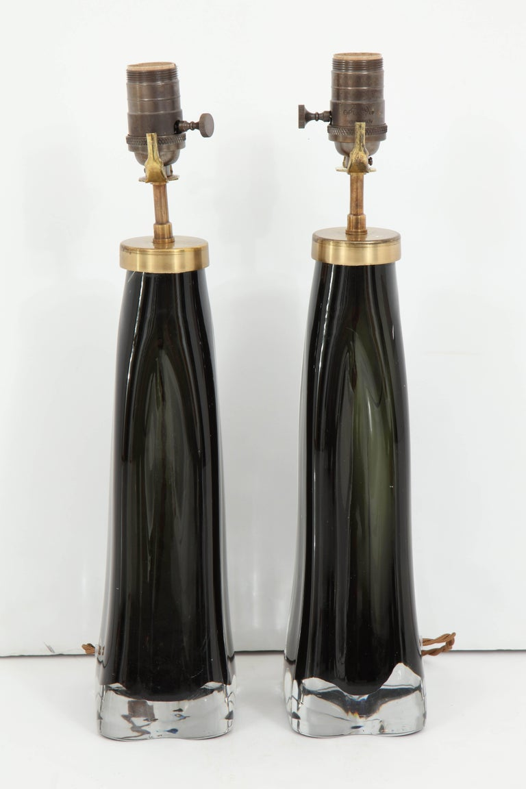 Pair of Midnight Blue Orrefors Crystal Lamps For Sale 2