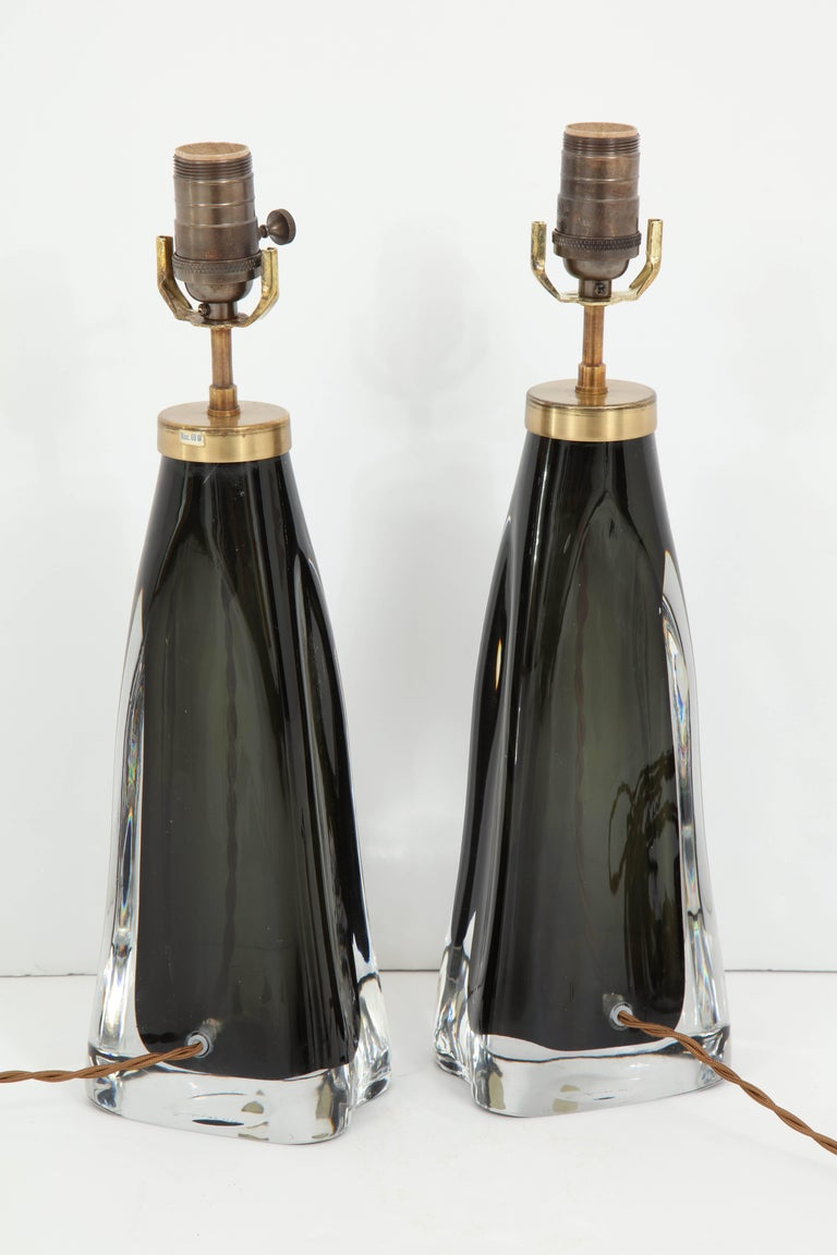 Pair of Midnight Blue Orrefors Crystal Lamps For Sale 3