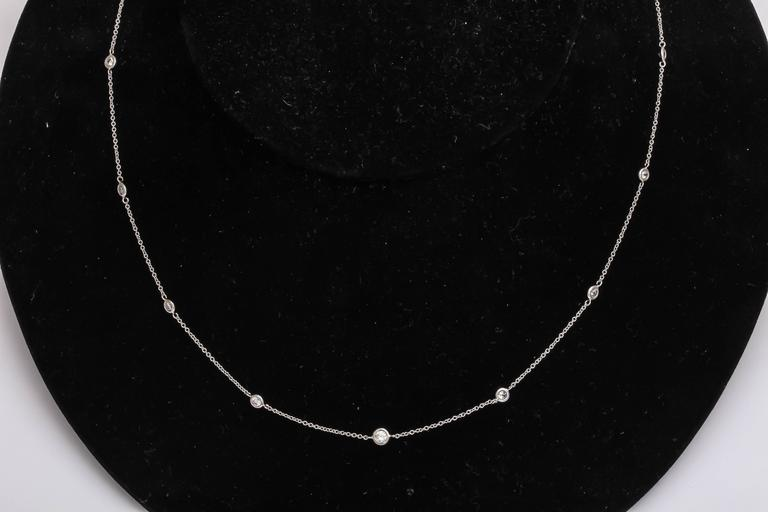 Classical Diamond by the Yard Platinum Chain Necklace 2