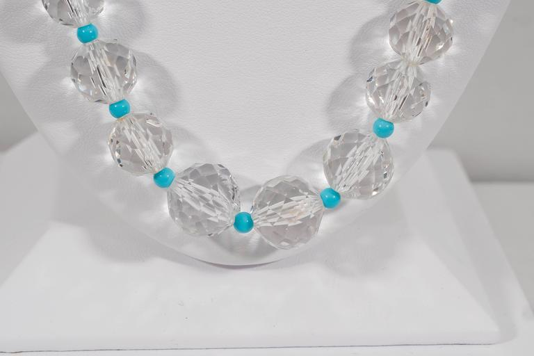 Women's Naomi Sarna Turquoise Crystal Diamond Gold Necklace For Sale