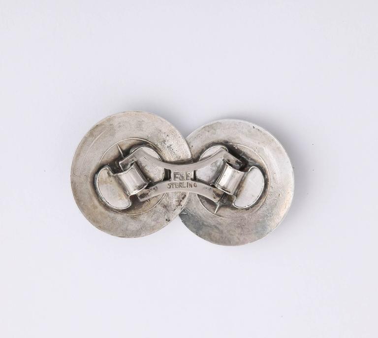 Men's 1920s-1930s Art Deco Guilloche Enamel Sterling Silver Cufflinks For Sale