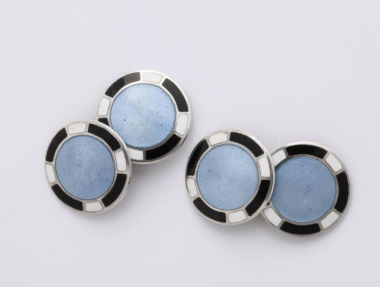 1920s-1930s Art Deco Guilloche Enamel Sterling Silver Cufflinks For Sale 1