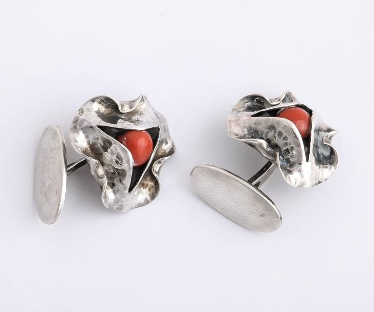 1920s-1930s Art Deco Coral Sterling Silver Cufflinks For Sale 1