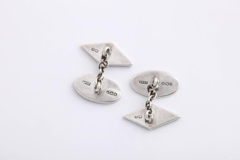 Art Deco J. Cook & Sons Ltd. Sterling Silver Agate Cufflinks For Sale