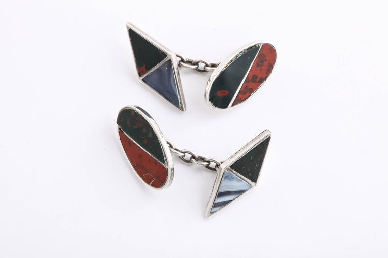 Men's J. Cook & Sons Ltd. Sterling Silver Agate Cufflinks For Sale
