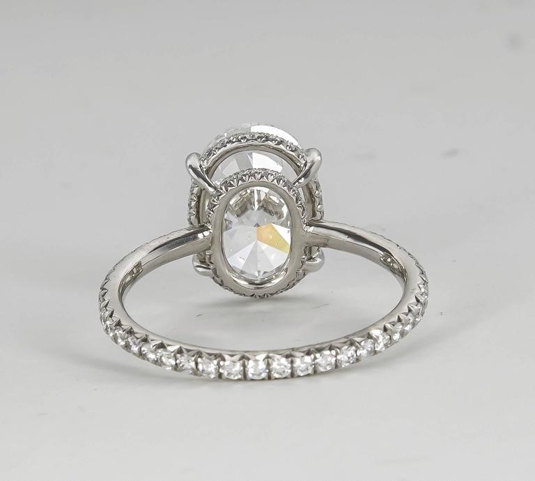 Women's Fabulous GIA 3 Carat D Color Oval Diamond Platinum Engagement Ring For Sale