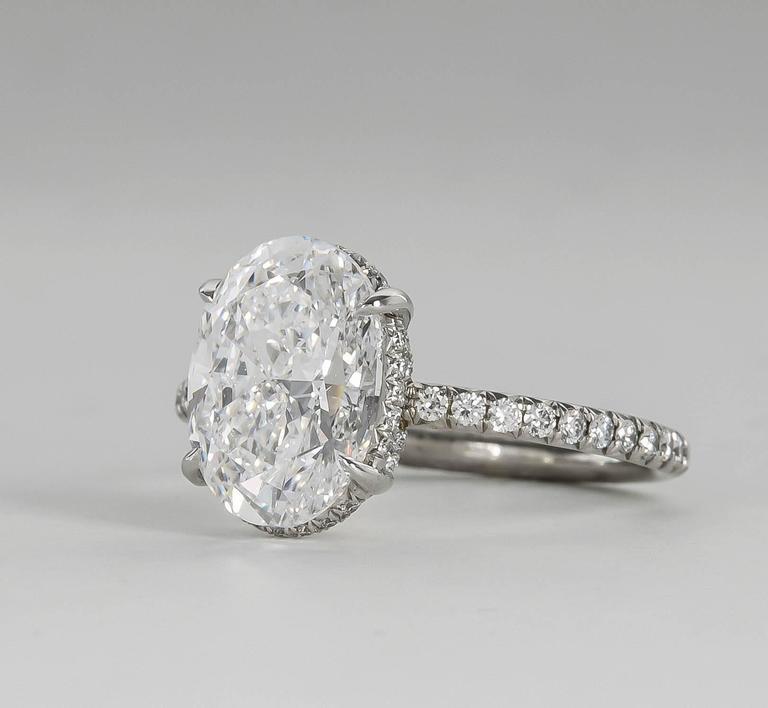 Fabulous GIA 3 Carat D Color Oval Diamond Platinum Engagement Ring For Sale 1