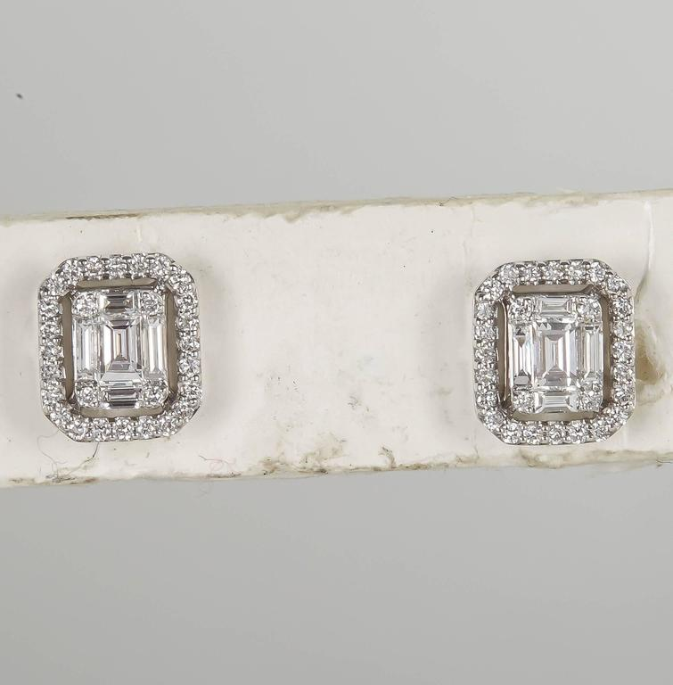 Illusion Emerald Cut Diamond Gold Stud Earrings For Sale 2