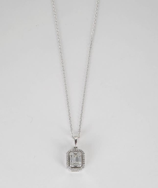 Illusion emerald cut diamond gold pendant for sale at 1stdibs illusion emerald cut diamond gold pendant in excellent condition for sale in new york ny aloadofball Choice Image