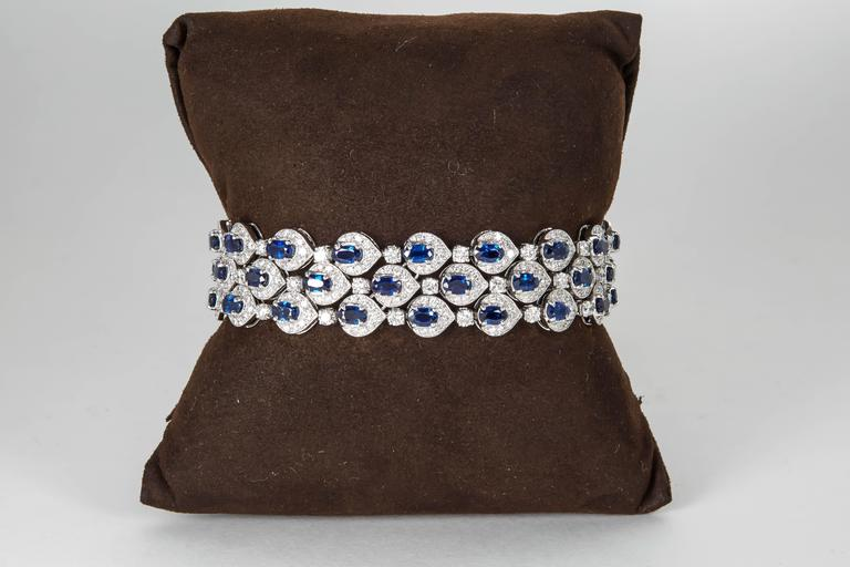 An elegant sapphire and diamond bracelet in a timeless design.
