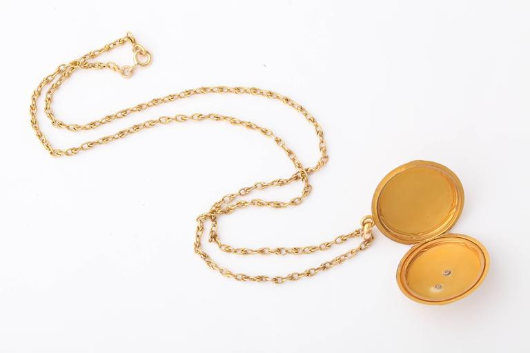 Neoclassical Antique 19th Century French Gold Locket and Chain For Sale