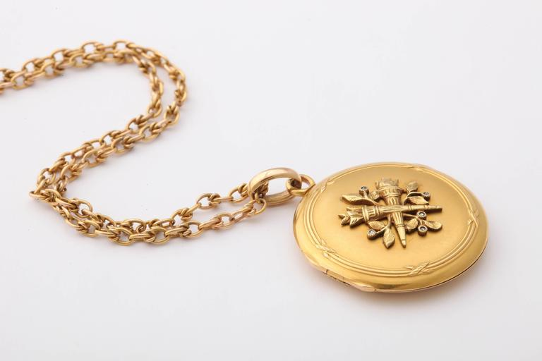 Women's Antique 19th Century French Gold Locket and Chain For Sale