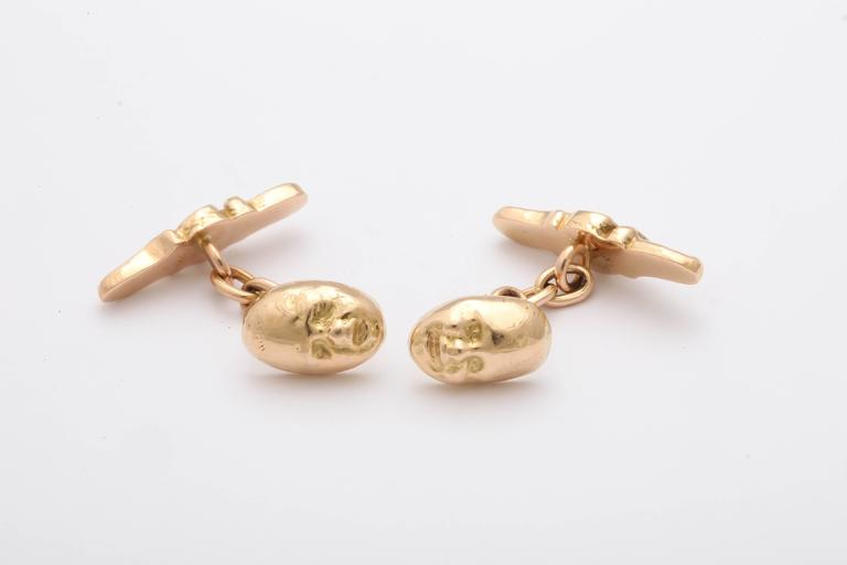 Victorian 19th Century Gold Tragedy and Comedy Cufflinks For Sale