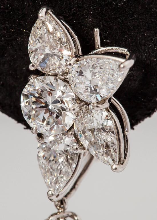 Women's harry winston diamond platinum winston cluster drop earrings For Sale