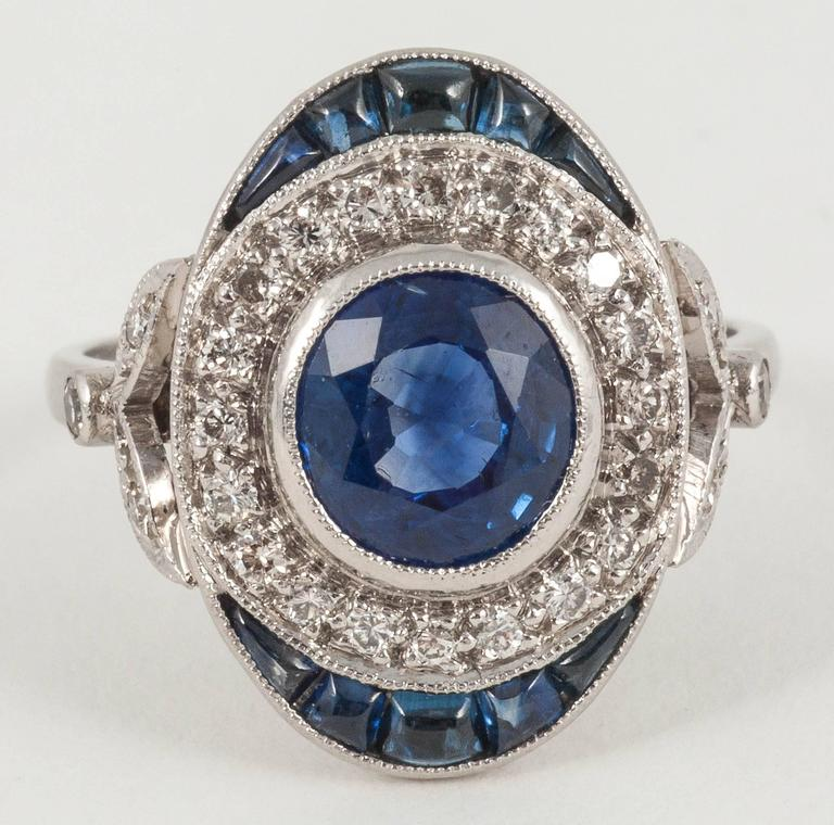 Oval Sapphire Diamond platinum cluster ring For Sale at ...