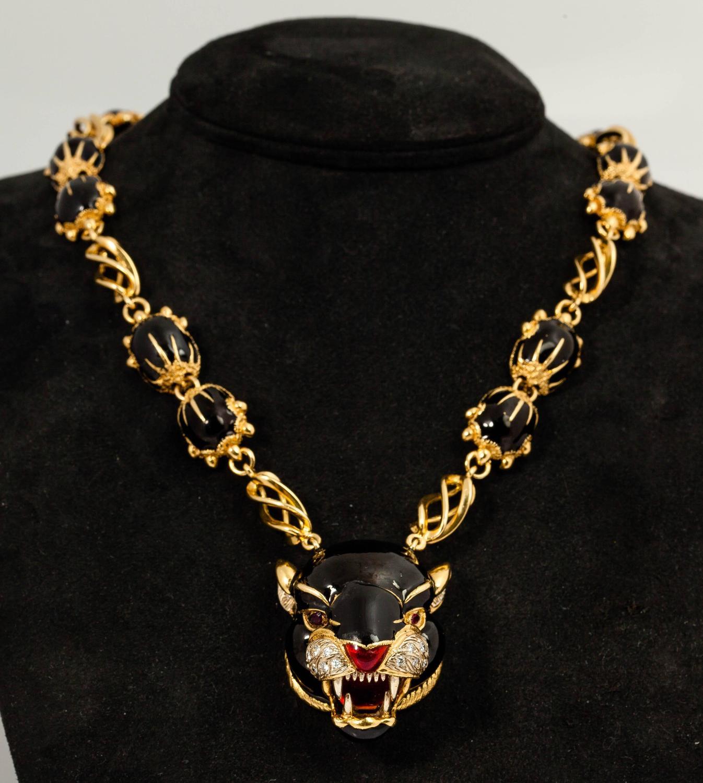 frascorolo jaguar panther black and red enamel gold necklace for sale at 1stdibs. Black Bedroom Furniture Sets. Home Design Ideas