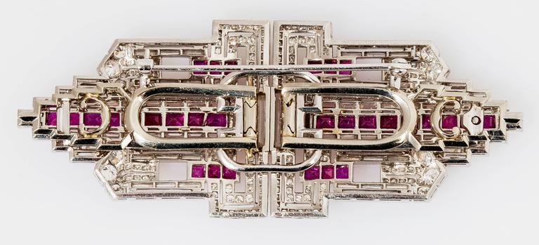 Art Deco Ruby Diamond Platinum Double Clip 3