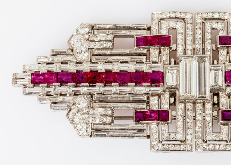 Women's Art Deco Ruby Diamond Platinum Double Clip For Sale