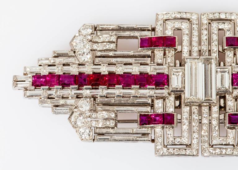 Art Deco Ruby Diamond Platinum Double Clip 4