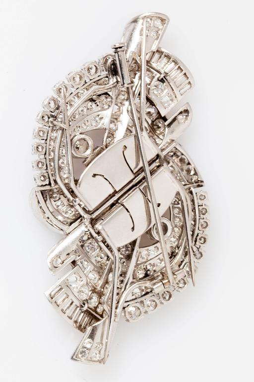 Women's Beautiful Art Deco Diamond Platinum Double Clip Brooch For Sale