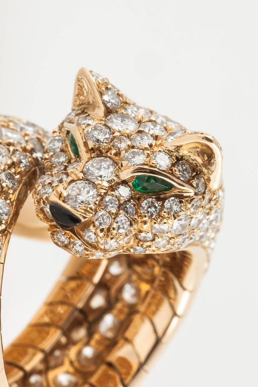 Cartier Panther enamel emerald diamond gold Ring  4