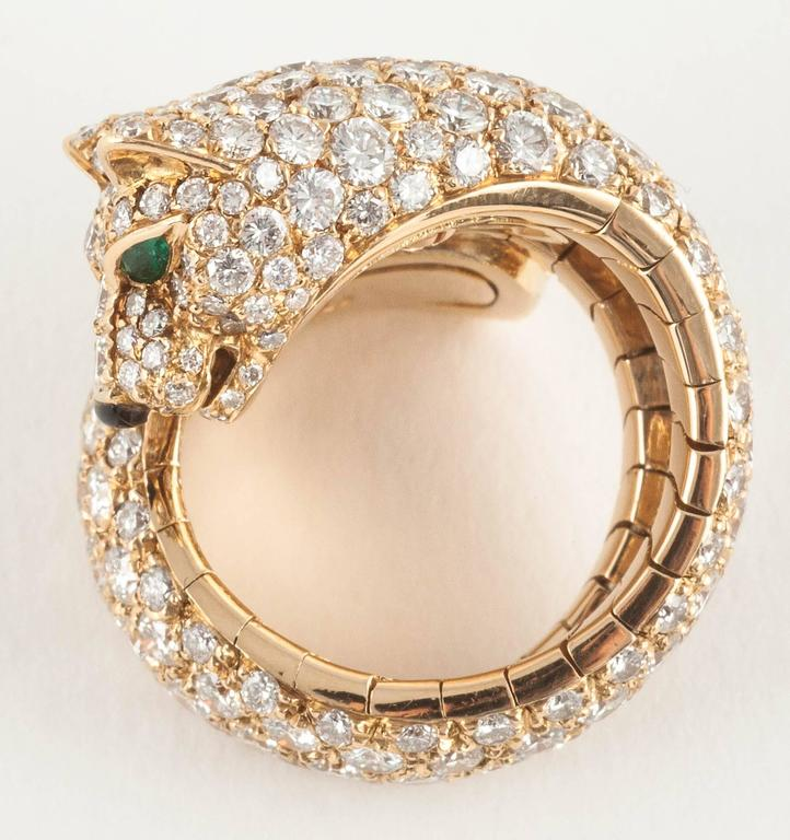 Cartier Panther enamel emerald diamond gold Ring  7