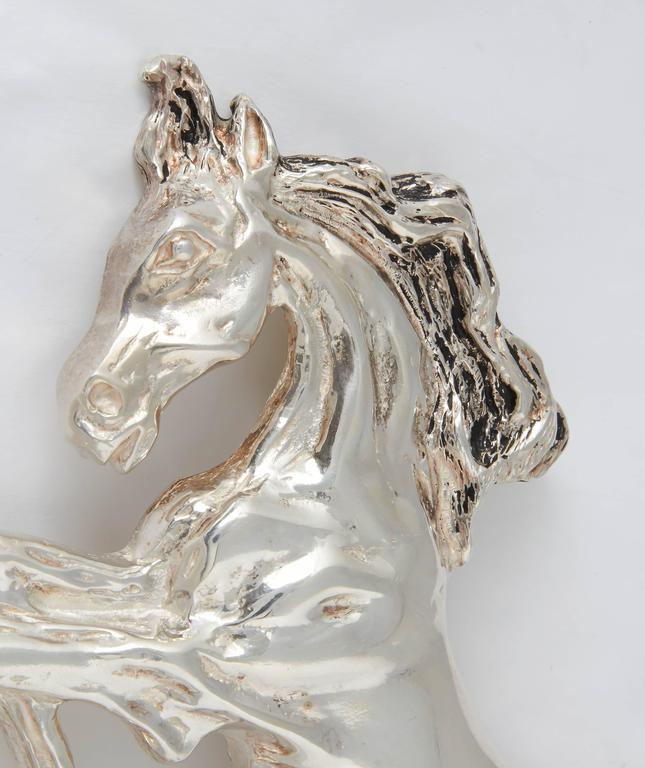 Giant Sterling Horse Belt Buckle In As New Condition For Sale In TRYON, NC