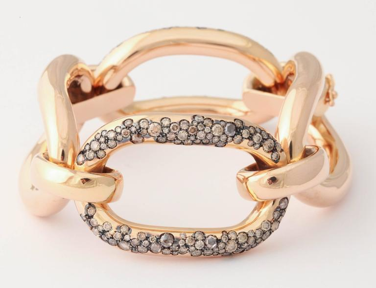 Cognac Diamond Rose Gold Bracelet In New Condition For Sale In New York, NY