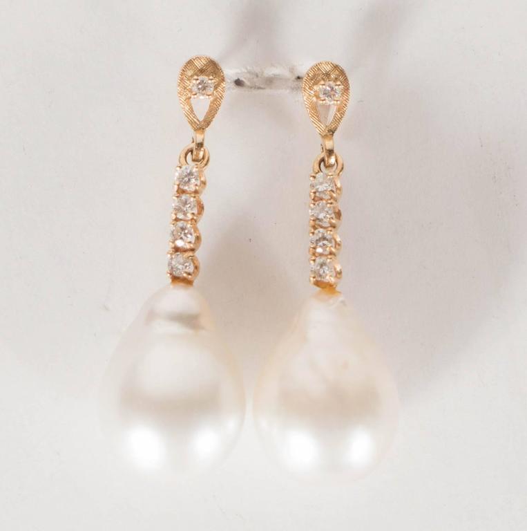 Hanging Pearl Diamond Gold Drop Earrings 2