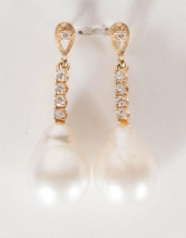 Hanging Pearl Diamond Gold Drop Earrings 3
