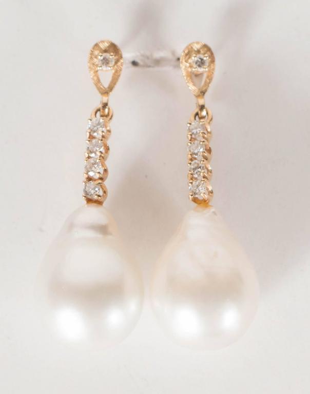 Hanging Pearl Diamond Gold Drop Earrings 5