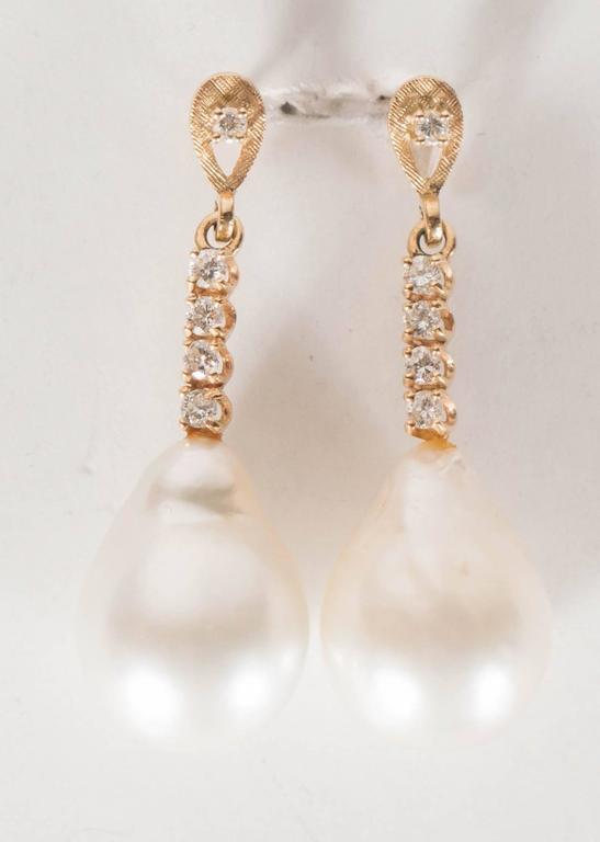 Hanging Pearl Diamond Gold Drop Earrings 8