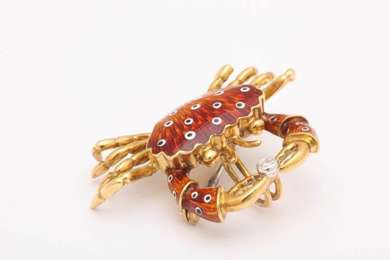 Charming Italian Gold and Enamel Crab Pin/Pendant 3
