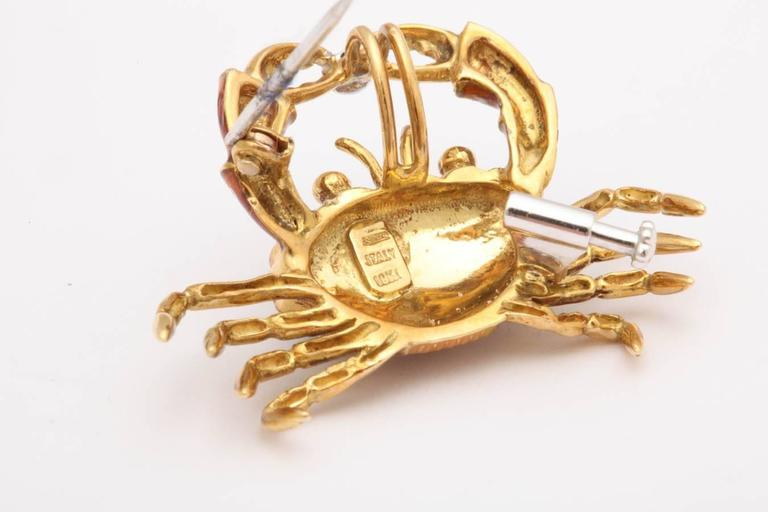 Charming Italian Gold and Enamel Crab Pin/Pendant 6