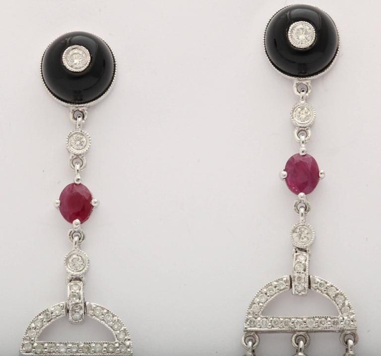 Romantic Coral Black Onyx   Diamond Chandelier Earrings For Sale