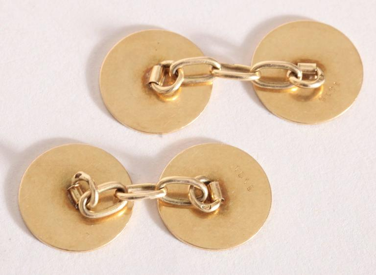 French Art Deco Guilloche Enamel Gold Cufflinks In Excellent Condition For Sale In New York, NY