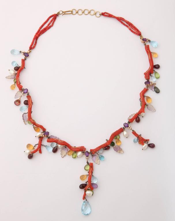 Coral Semi Precious Stone Necklace Set 2