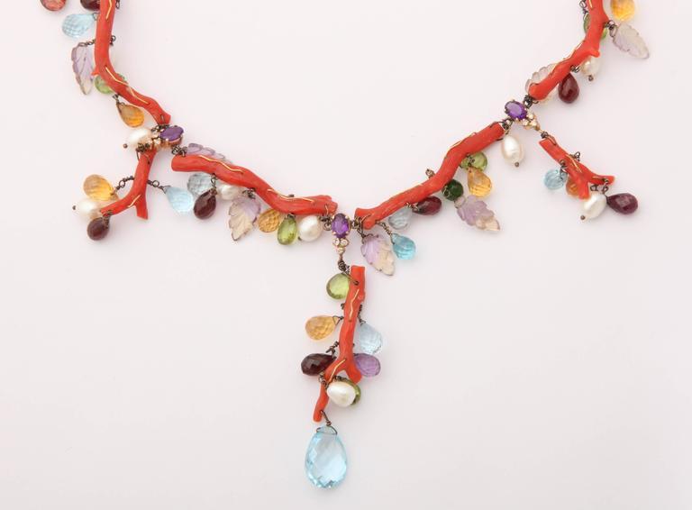 Coral Semi Precious Stone Necklace Set 3