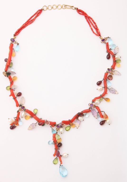 Coral Semi Precious Stone Necklace Set 5