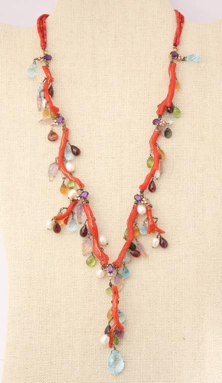 Coral Semi Precious Stone Necklace Set 6