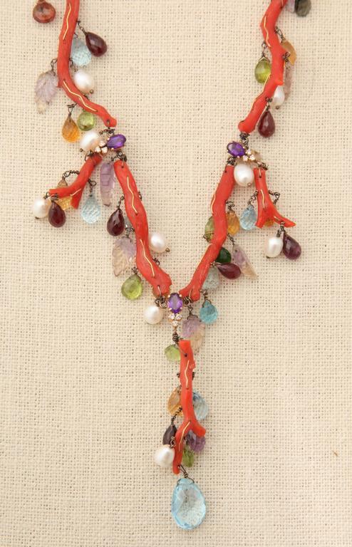 Coral Semi Precious Stone Necklace Set 7