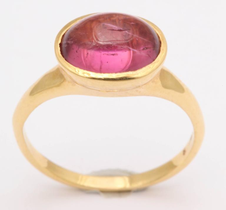 Pink Tourmaline Gold Cabochon Ring 2
