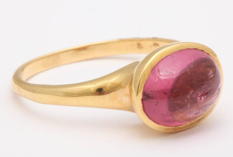 Pink Tourmaline Gold Cabochon Ring 3