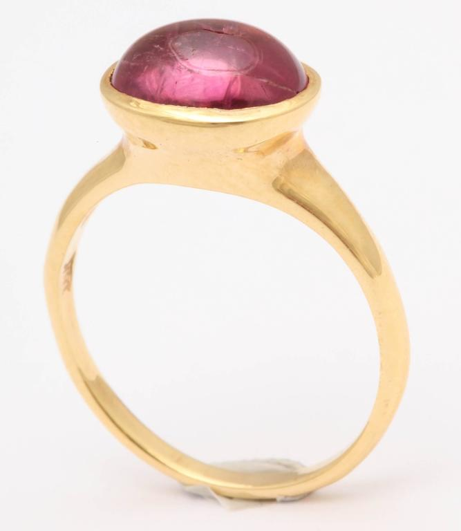 Pink Tourmaline Gold Cabochon Ring 6