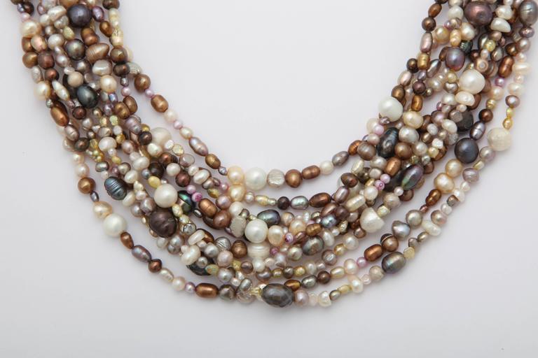 Women's Ten Strand Multi-Color Pearl Necklace For Sale