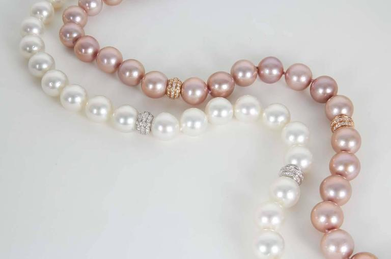 GIA Cert Rare Important Pink and White South Sea Pearl ...