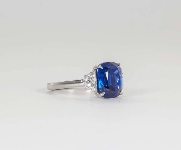 Cushion Cut 5 Carat Vivid Blue Sapphire Diamond Platinum Ring For Sale