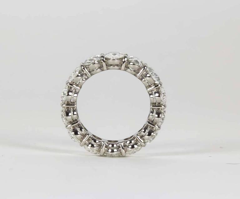 11 Carat Oval Diamond Platinum Eternity Band Ring In New Condition For Sale In New York, NY